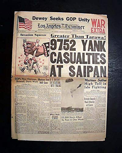 BATTLE OF SAIPAN Mariana Islands U.S. Marines Japan 1944 World War II Newspaper THE BOSTON POST, July 3, 1944 ()