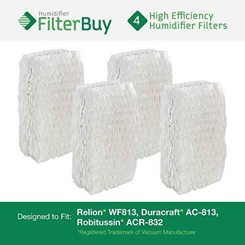 4 - WF813 ReliOn, AC-813 Duracraft , ACR-832 Robitussin Humidifier Wick Replacement Filters. Designed by FilterBuy to fit ReliOn RCM832 (RCM-832) RCM-832N, DH-832 and DH-830 Humidifers.