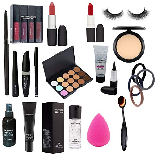 A66 Combo Of Makeup Brush, The Red Edition, Foundation, Primer, Compact, Lipstick, Eyeliner, Kajal, Eye Lashes, Fixer.