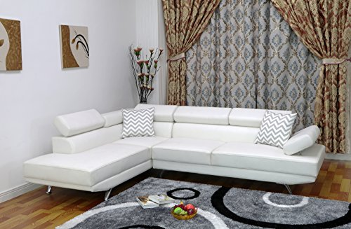 U.S. Livings Liberty Modern Living Room 2-Piece Sectional Sofa (Left, White)