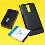 [Stylo 2 Plus Battery Pack] 8000mAh Extended Double Layer Battery Thicker Door Hard Cover Universal External Desktop Wall USB/AC Charger for LG Stylo 2 Plus K550 Cellphone
