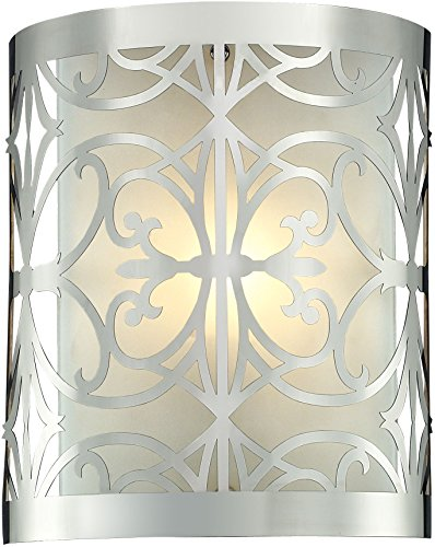 - Elk Lighting 11430/1 8 by 10-Inch Willow Bend 1-Light Bathbar with Laser Cut Stainless Frosted Glass Shade, Polished Chrome Finish