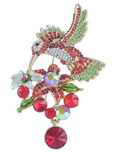 Sindary Pretty 3.54'' Animal Pendant Hummingbird Brooch Pin Rhinestone Crystal BZ6385 (Gold-Tone Red) by Animal Brooch-Sindary Jewelry