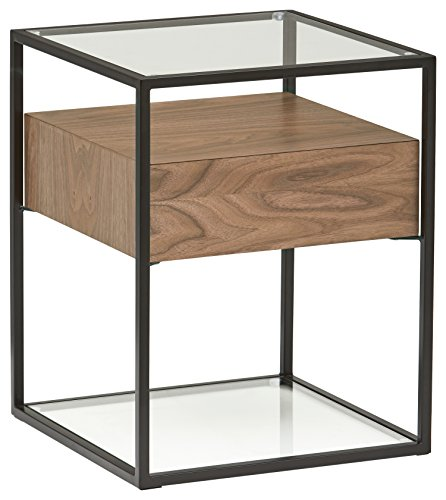 Rivet King Street Industrial Floating Side Table Night Stand, Walnut, Black Metal, Glass