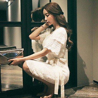 PU&PU Robe Aux femmes Gaine simple,Couleur Pleine Col Arrondi Mi-long Coton / Polyester , white , l