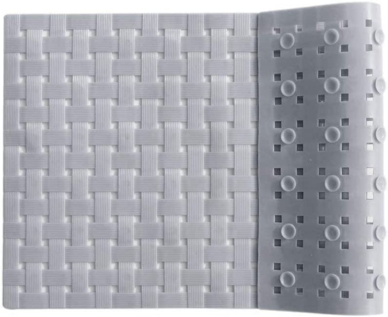 Bathtub and Shower Mat, Non Slip, Machine Washable, Woven Design, Perfect Bath Mat for Tub and Shower for Kids and Elderly, 28 x16 Inch, Grey