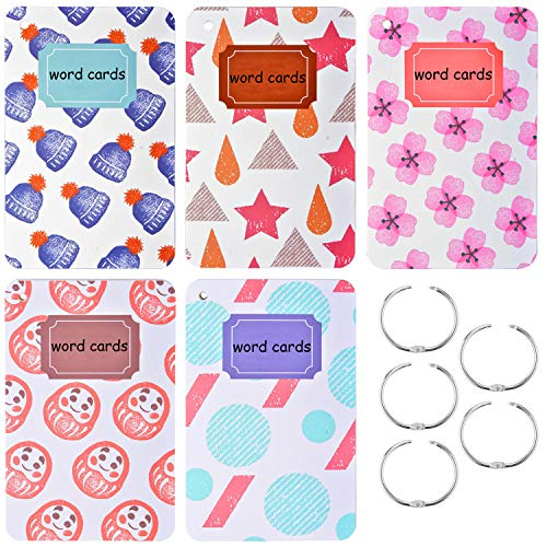 (Rancco Index Cards Study Card Language Learning Cards w/ 5 Metal Ring, 550 Pcs Binder Ring Education Sight Word Flash Card, Hole-Punched Memo Pads, Note Card, Pocket Notepad, 4.9x3.2