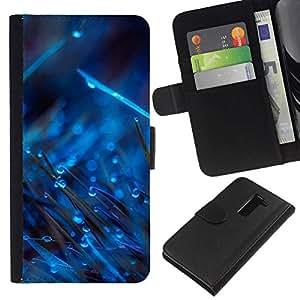 All Phone Most Case / Oferta Especial Cáscara Funda de cuero Monedero Cubierta de proteccion Caso / Wallet Case for LG G2 D800 // BLUE DROPS ON GRASS
