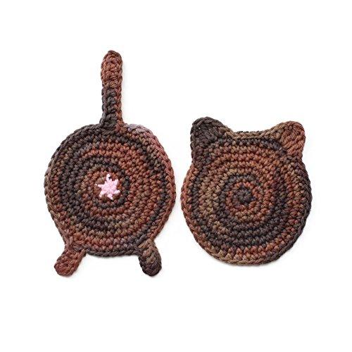 Crochet cat ear and butt coasters by Geekirumi! - Cotton yarn drink mats - Tortoiseshell (set of - Glasses Geek Tortoiseshell
