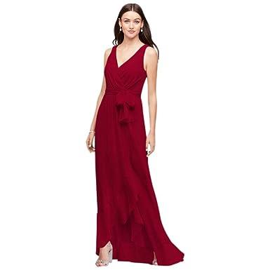 David\'s Bridal Chiffon Ruffle-Trim Faux-Wrap Bridesmaid Dress Style ...