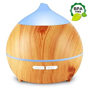 Essential Oil Diffuser, Mulcolor 250ml Wood Grain Aromatherapy Diffuser Ultrasonic Aroma Diffuser Cool Mist Humidifier with Low Water Auto Shut-off, 7 Color LED for Office Home Bedroom Study Yoga Spa