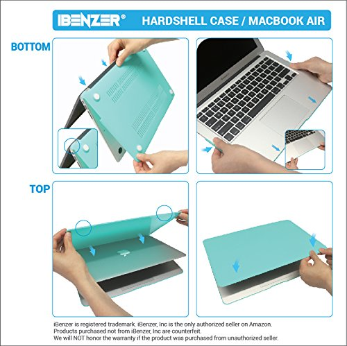iBenzer Basic Soft-Touch Series Plastic Hard Case, Keyboard Cover, Screen Protector for Apple Macbook Air 13-inch 13'' A1369/1466, Aqua by iBenzer (Image #7)