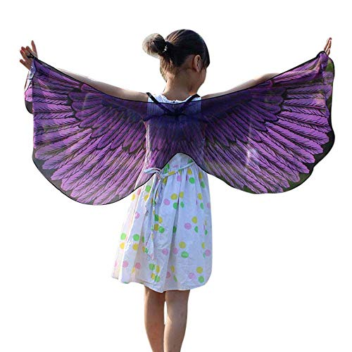 POQOQ Halloween Party Prop Soft Fabric Butterfly Wings Shawl Fairy Costume 11848CM Purple]()