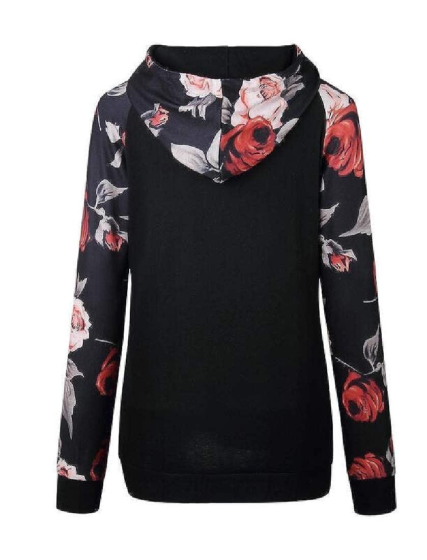 Wofupowga Womens Big Pocket Printed Long-Sleeve Pullover Hoodie Sweatshirts