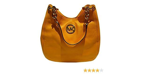 97175141f1aa Michael Kors Fulton Chain vintage yellow Leather medium Shoulder Tote  handbag: Handbags: Amazon.com