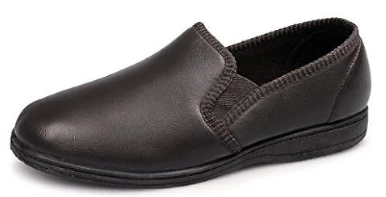 Hadley Herren Hausschuhe aus weichem Leder mit Doppelzwickel und Gummisohle, Braun - braun - Größe: 41.5 (8 UK)