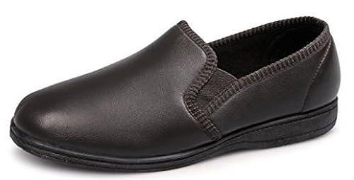 Zapatillas de piel Hadley para hombre, suaves, con suela de goma y doble refuerzo, color, talla 47