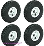 Best Wheel Set For Gardens - 4pc-set of 10 in. Pneumatic Tires on White Review