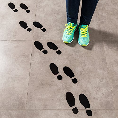 ceiba tree Spy Agents of Truth Footprint Floor Decals Black Shoe Footprint Stickers for Floors and Walls 16 Prints ()