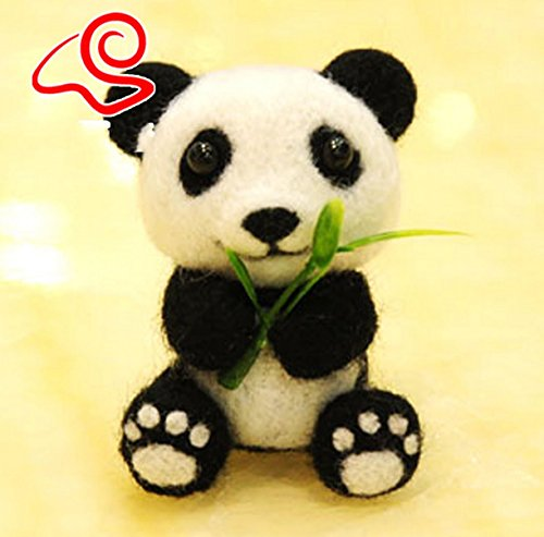 WellieSTR Natural Wool Roving Needlecrafts Needle Felted Felting Character Starter Kit: Lovey Mini Panda (Panda Wool)