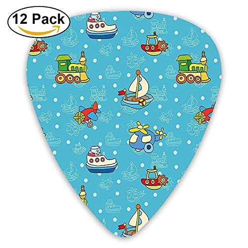 (Colorful Cartoon Children Toy Figures Pattern Boats Planes Trains On Blue Background Guitar Picks 12/Pack)