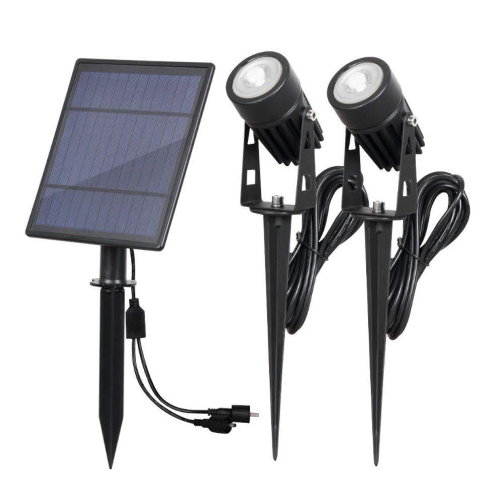 WFTD Solar Spotlight, Wasserdichtes IP65-Solar Garten Licht Mit ZWeißScheinwerfern, Geeignet Für Gärten, Innenhöfe, Rasenflächen, Passagen, Teiche, Etc.