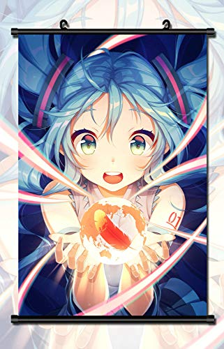 Mxdza Japanese Anime Vocaloid Hatsune Miku Fabric Painting Anime Home Decor Wall Scroll Posters for Decorative 40x60CM