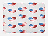 Lunarable Americana Bath Mat, Hearts Independence Day of America Memorial Celebration Balloons Party, Plush Bathroom Decor Mat with Non Slip Backing, 29.5 W X 17.5 W Inches, Vermilion Blue White
