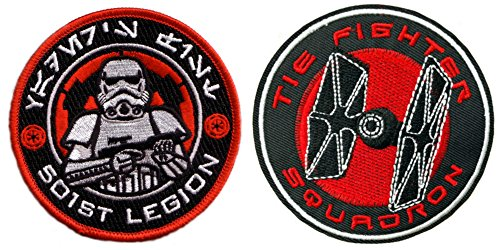 [Outlander Gear Star Wars 501st Stormtrooper and Tie Fighter Squadron (2-Pack) Embroidered Iron/Sew-on Applique Patches] (Storm Marvel Costume)