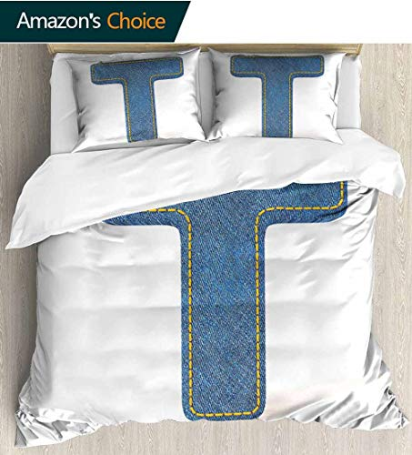- shirlyhome Letter T Print Comforter Quilt Set,Alphabet Design with Denim Texture Element Blue Jeans Stitches Illustration Print Bedding Sets 80