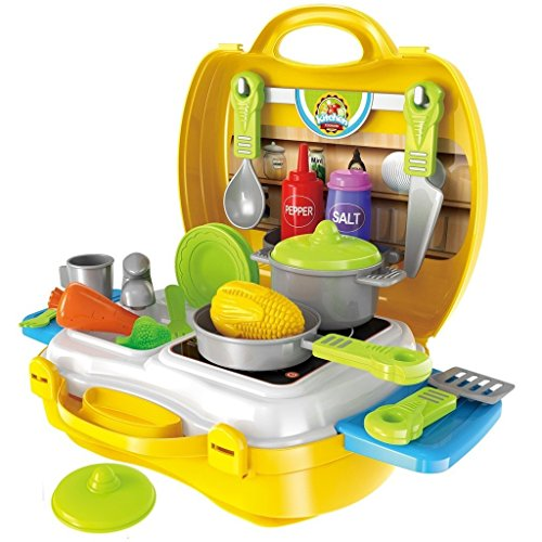 Toyshine Luxury Kitchen Set Cooking Toy with Briefcase and Accessories (Yellow)