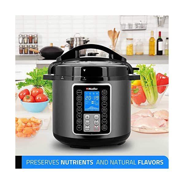 Mueller 6 Quart Pressure Cooker 10 in 1, Cook 2 Dishes at Once, Tempered Glass Lid incl, Saute, Slow Cooker, Rice Cooker, Yogurt Maker and Much More 3