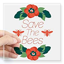 """CafePress - Save The Bees Sticker - Square Bumper Sticker Car Decal, 3""""x3"""" (Small) or 5""""x5"""" (Large)"""