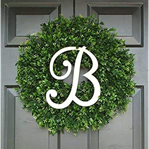 Elegant Holidays Handmade Thin Artificial Boxwood Wreath with Monogram, Welcome Guests -Decorative Front Door- for Outdoor, Storm Doors, Indoor Home Wall Décor, All Seasons & Holidays Sizes 16-24 inch 15