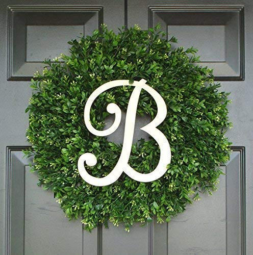 Elegant Holidays Handmade Thin Artificial Boxwood Wreath with Monogram, Welcome Guests -Decorative Front Door- for Outdoor, Storm Doors, Indoor Home Wall Décor, All Seasons & Holidays Sizes 16-24 inch ()
