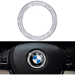 1797 Compatible Steering Wheel LOGO Caps BMW Accessories Parts Trim Covers Decal Sticker Bling Interior Visors Decorations 3 4 5 Series X3 X5 E30 E36 E34 E39 F30 F34 F36 F15 G01 G30 G31 Crystal Silver