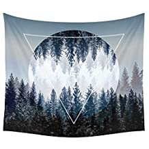Sunset Forest Ocean and Mountains Wall Hanging Tapestry with Romantic Pictures Art Nature Home Decorations for Living Room Bedroom Dorm Decor in 51x60 Inches