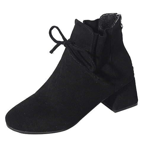 Tefamore Botas de Mujer, Botines para Adulto, Zapatos Otoño/Invierno 2018, Moda Tacón de Altos Drawstring Cremallera Zapatos Ankle Boots: Amazon.es: Zapatos ...