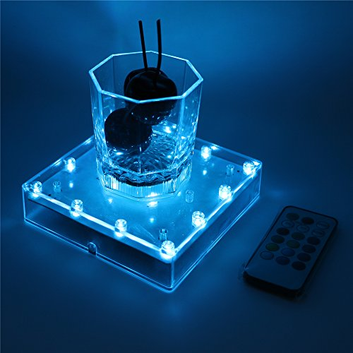 ARDUX 5 inch Square-shape LED Vase Base Light with 18 Key Remote Control with Charging USB or Battery Powered Pedestal for Home Party Table Plant Decoration ()