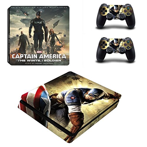 MightyStickers - Captain America 2 The Winter Soldier PS4 Slim Console Wrap Cover Skins Vinyl Sticker Decal Protective for Sony PlayStation 4 Slim & (Captain America The Winter Soldier Online)