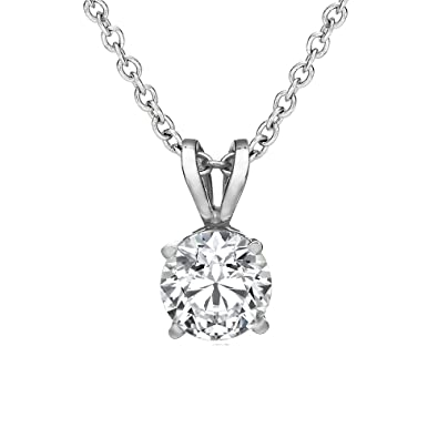 Amazon 15 ct round brilliant diamond pendant in 14k white gold amazon 15 ct round brilliant diamond pendant in 14k white gold jewelry mozeypictures Images