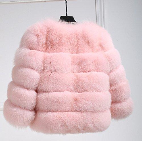 di LaoZan Lusso Pelliccia Volpe Pink Faux Caldo Donna Cappotto di Corto fr1fYq