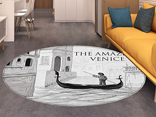 Canal Tropical Rug - Venice Round Area Rug Canals Venice Child Gondolier on Water Historical Amazing European City Sketch Living Dinning Room & Bedroom Rugs Black White