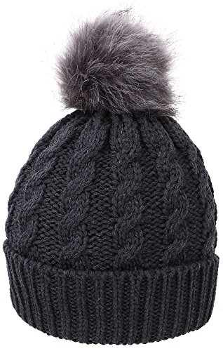 Simplicity Womens Faux Fur Pom Pom Beanie Hat Winter Knit Beanie ()