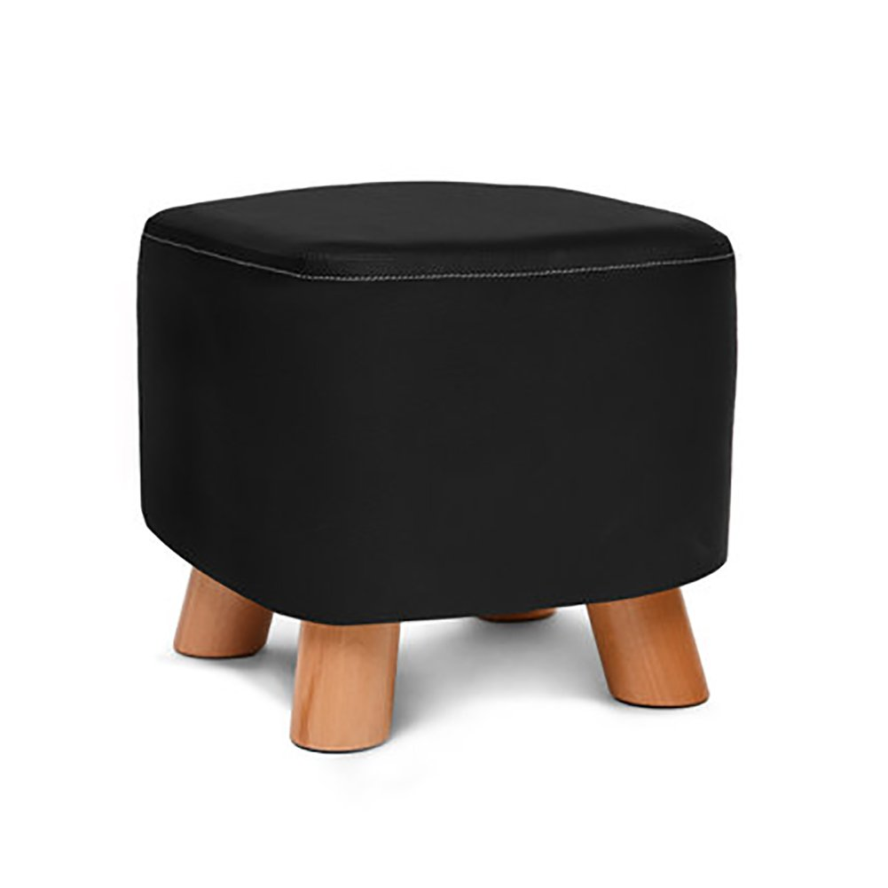 D&L Solid wood Square Footstool, Ottoman Pouffe Chair Stool Faux leather Cover And 4 legs Sofa Home Low Stool-black L28xW28xH25cm