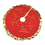 Lelili Christmas Tree Skirt Golden Ruffle Edge Printed New Year Holiday Xmas Tree Decor 36 inches (36inch, Red-B)