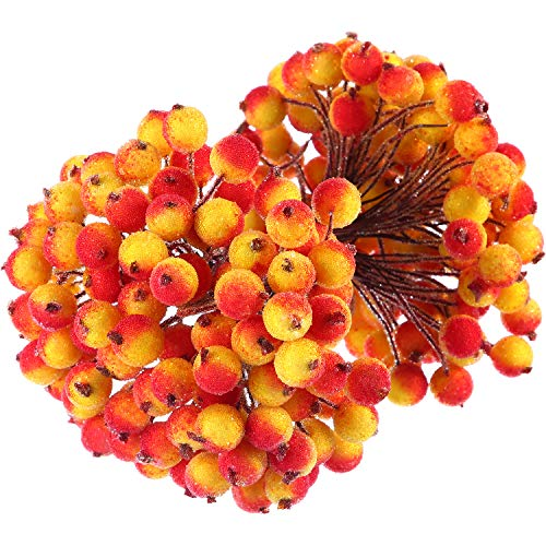 BBTO 100 Wired Stems of Artificial Holly Berries Artificial Flower Decor 200 Pack 12 mm Mini Christmas Frosted Fruit Berry (Yellow with Red)