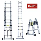 16.5FT A Frame Aluminum Multi-Purpose Folding Telescopic Telescoping Ladder Extension Foldable Portable Heavy Duty - EN131 Certified - 330 Pound Capacity
