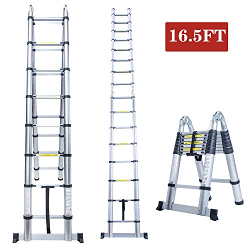 16.5FT A Frame Aluminum Multi-Purpose Folding Telescopic Telescoping Ladder Extension Foldable Portable Heavy Duty - EN131 Certified - 330 Pound Capacity Telescoping A-frame Ladder