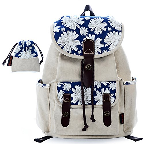 C LEATHERS Canvas Backpack School 137White